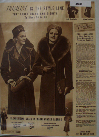 Sears Trimline Womens Coats 1938 Ad