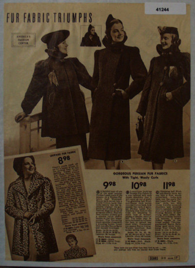 Sears Womens Top Coats 1938 Ad
