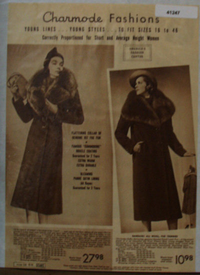 Sears Chaarmode Fashion Coats 1938 Ad