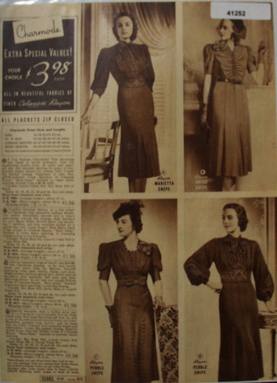 Sears Charmode Dresses 1938 Ad
