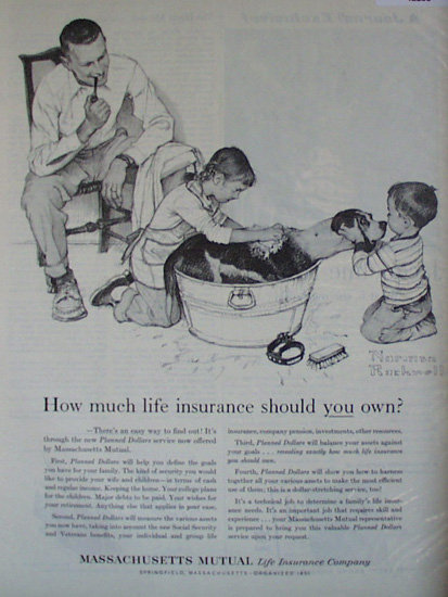 Massachusetts Mutual Life Insurance Co. 1959 Ad Norman Rockwell