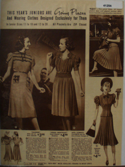 Sears Juniors Dresses 1938 Ad