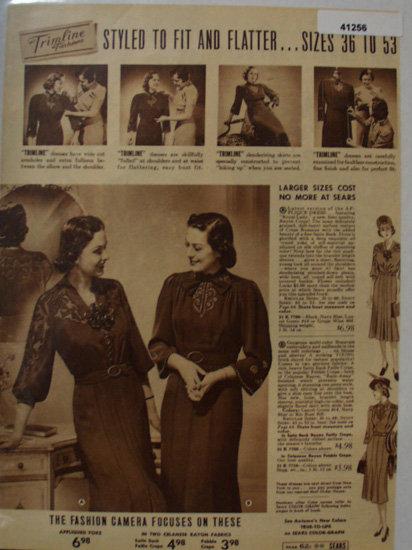 Sears Womens Trimline Dresses 1938 Ad