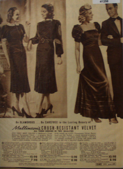Sears Womens Velvet Dresses 1938 Ad