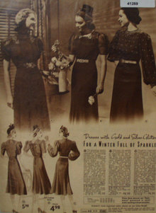 Sears Womens Dresses With Glitter 1938 Ad