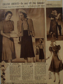 Sears Junior Women Dresses 1938 Ad