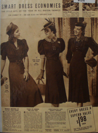 Sears Dress Economies 1938 Ad