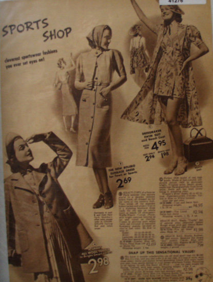 Sears Womens Sports Dresses 1938 Ad