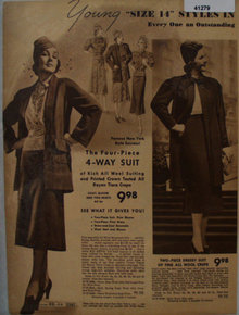 Sears Womens Four Piece Dress 1938 Ad