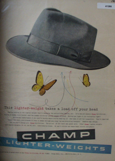 Champ Mens Hat 1953 Ad