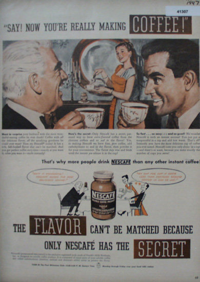 Nescafe Soluble Coffee 1947 Ad