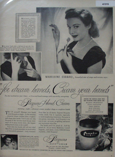Pacquins Hand Cream 1949 Ad