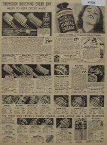 Sears Tooth Paste And Brushes 1938 Ad