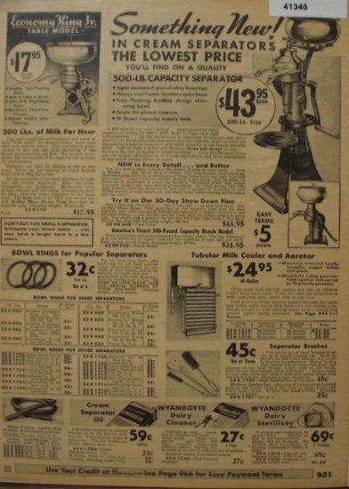 Sears Farm Related Cream Separators 1935 Ad