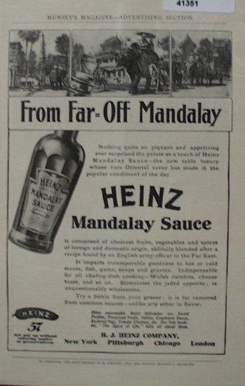 Heinz Mandalay Sauce Pre 1910 Ad