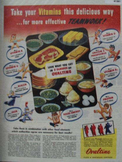 Ovaltine Vitamins 1944 Ad