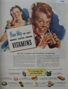 Ovaltine Vitamins 1945 Ad