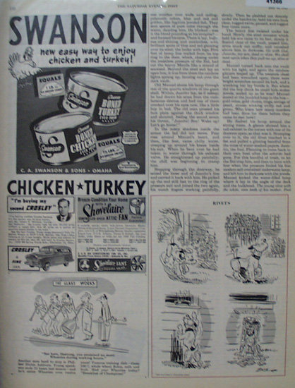 Swanson Boned Chicken And Turkey 1949 Ad