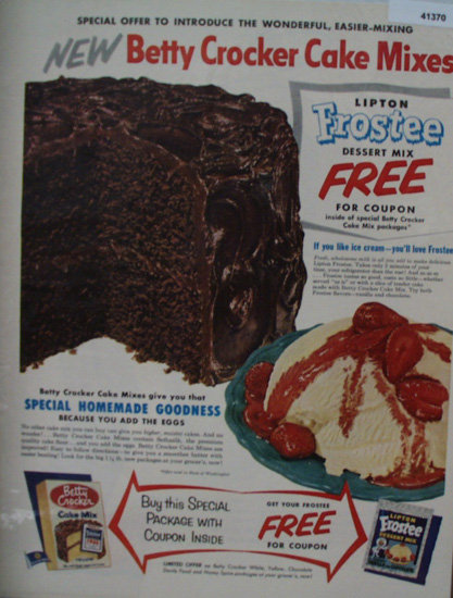 Betty Crocker Cake Mix And Frostee 1953 Ad
