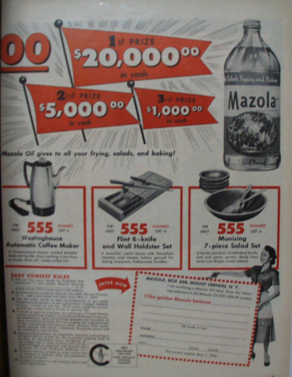Mazola Refined Cooking Oil 1956 Ad