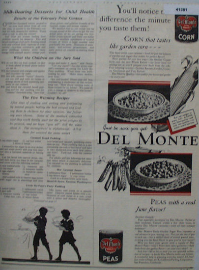 Del Monte Vegetables 1931 Ad