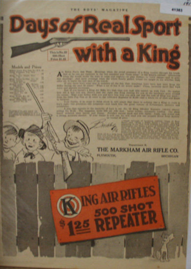 King Air Rifles 1916 Ad