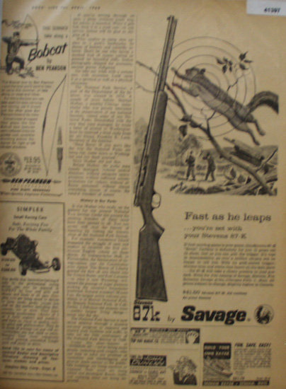 Stevens 87K By Savage Rifle 1960 Ad