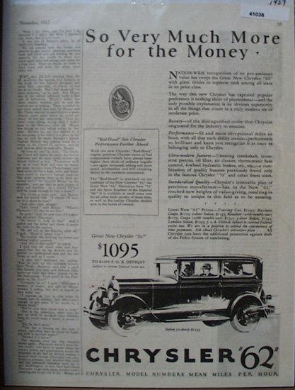 Chrysler 62 Model Number Means M.P.H. 1927 Ad