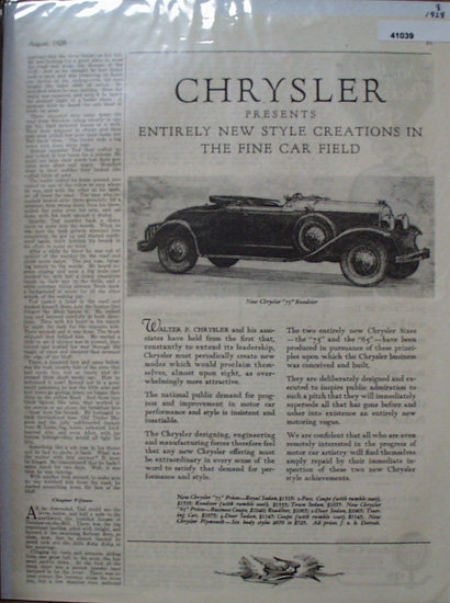 Chrysler Cars 1928 Ad
