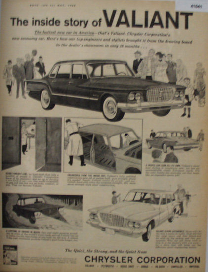 Chrysler Corporation Valiant 1960 Ad