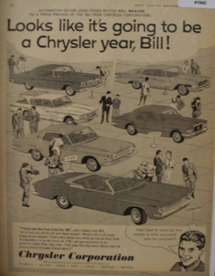 Chrysler Corporation Bill Weaver Preview 1961 Ad