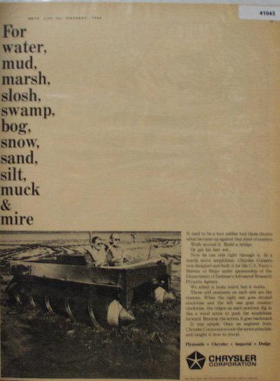 Chrysler Corporation Amphibian 1964 Ad