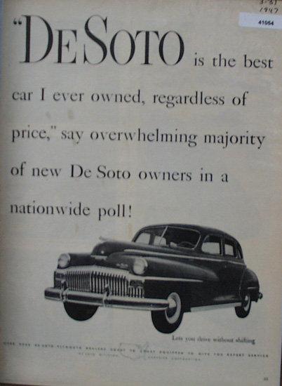DeSoto Division Chrysler Corp. 1947 Ad
