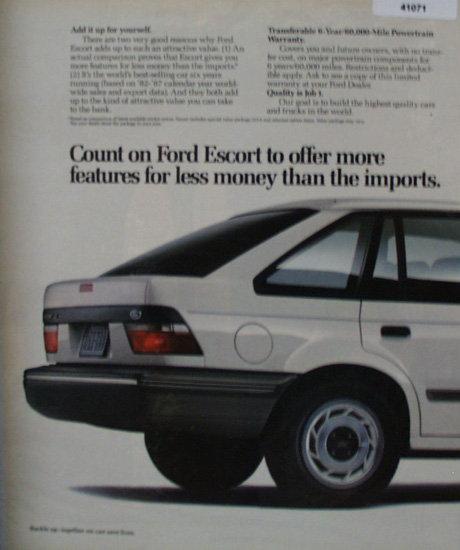 Ford Escort 1989 Ad