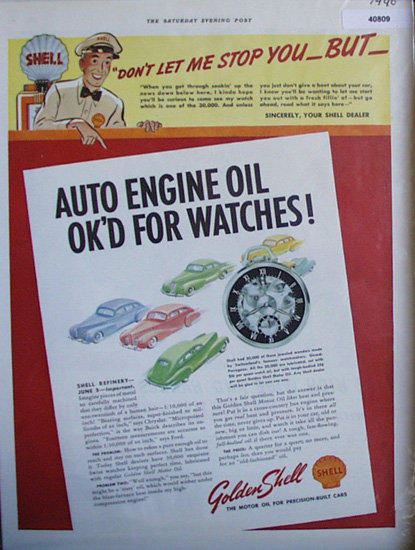 Golden Shell Motor Oil 1940 Ad