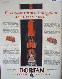 Dorfan Electric Trains 1927 Ad express speed