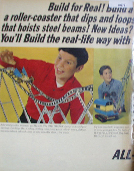 A.C. Gilbert Erector Set 1964 Ad roller coaster