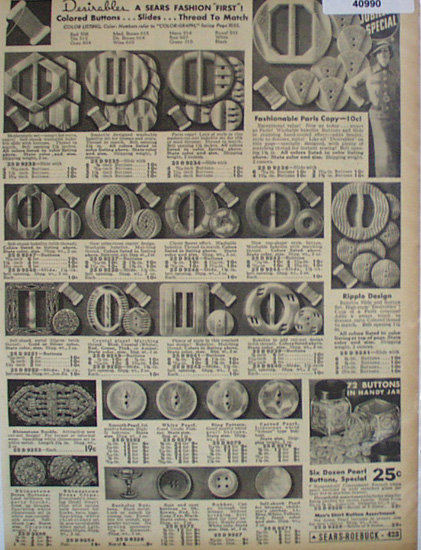 Sears Sewing Needs 1936 Ad buttons and slides