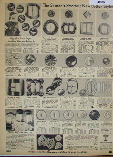 Sears Buttons and Belt Buckles 1936 Ad belt buckles