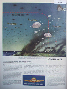 Shell Finer Fuels 1944 Ad parachuters