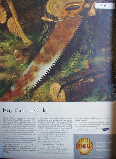 Shell Research 1945 Ad every farmer has a boy