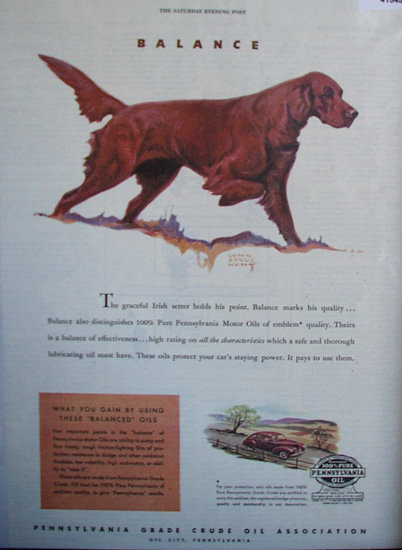 Pennsylvania Oil 100 Per Cent Pure 1945 ad irish setter