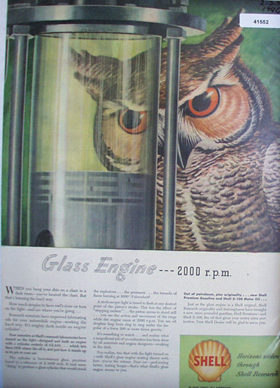 Shell Oil Glass Engine 1946 Ad owl