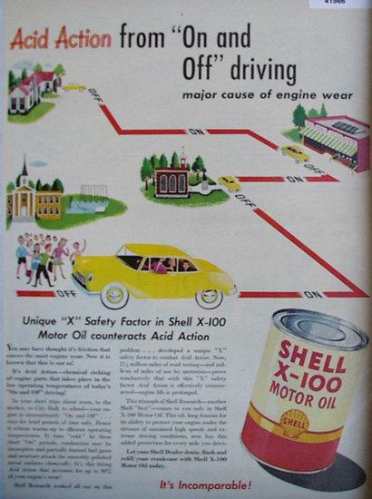Shell X 100 Motor Oil 1949 Ad cartoon