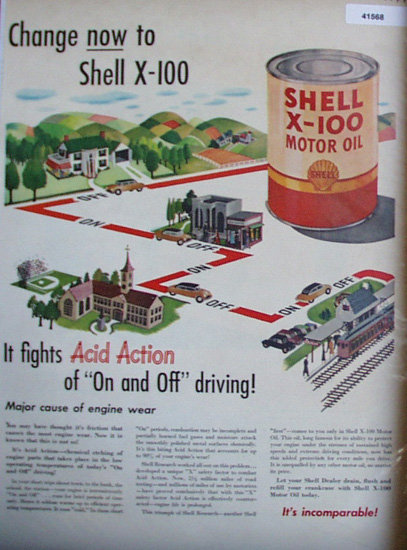 Shell X 100 Motor Oil On And Off Driving 1949 Ad country to city