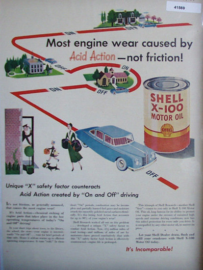 Shell X 100 Motor Oil Acid Action 1949 Ad blue car