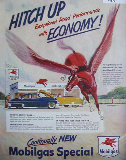 Mobilgas Hitch Up 1950 Ad red horse