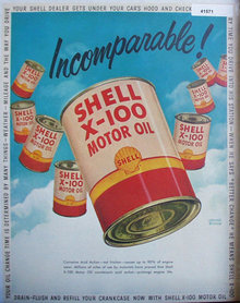 Shell X 100 Motor Oil Incomparable 1950 Ad Jerome Rozen