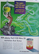Shell X 100 Alkaline Motor Oil 1951 Ad acid attacks engine