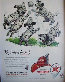 Texaco Fire Chief Gasoline 1952 Ad dalmation puppies